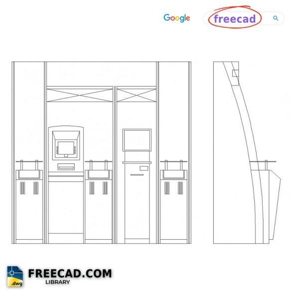 ATM Machine Furniture Elevation DWG CAD