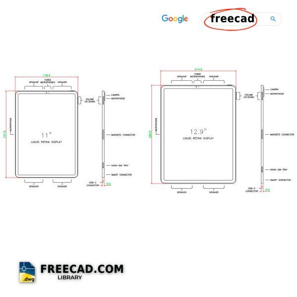 iPad Pro Size DWG Drawing FREE